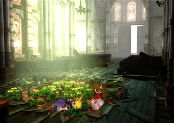 Cloud awakens in a church in Sector 5. The flower girl from before is kneeling next to him...