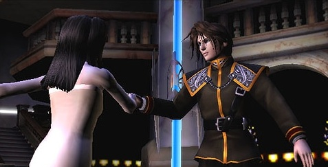Squall and Rinoa waltzing in the FFVIII tech demo for PS2.
