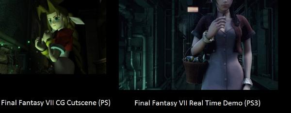 Aerith Gainsborough in FFVII vs Aerith in the FFVII tech demo for PS3.