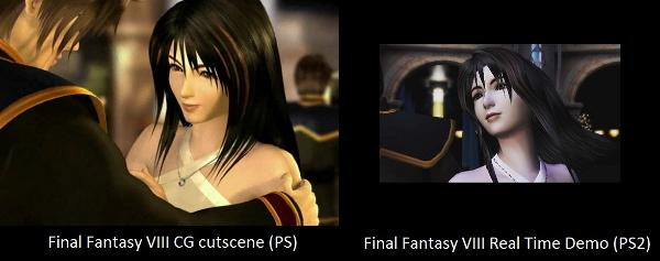 Rinoa waltzing with Squall in FFVIII vs Rinoa in the FFVIII tech demo for PS2.